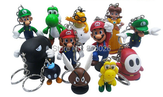 12pcs/set keychain Super Mario Bros figures PVC Collection figures toys for christmas gift brinquedos ToyO0067