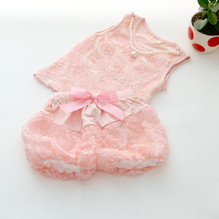 Free shipping 2014 New arrival children girl summer clothing set baby girls rose 2pcs set pink