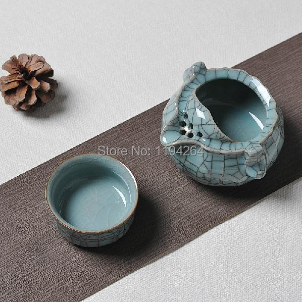 Ice Veins Longquan Kiln Celadon Handmade Ware Teapot Teacup Gongfu Tea Set