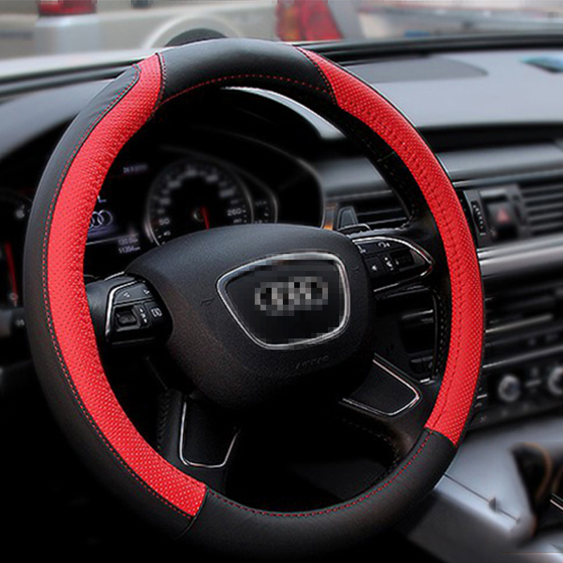 Hot Sell Elegant Generous Design Leather Auto Car Steering Wheel Cover 38CM/15'' Anti-catch Holder Protector Fit Univeral Cars(Hong Kong)