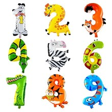 0-9 Number Foils, Animals Cartoon 16inch Mylar Balloon, for Party Birthday Decoration. number children air inflatable balloons