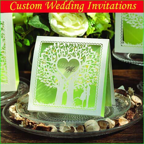 3d laser cut love tree wedding invitations cards in green for 3d printer wedding invitations