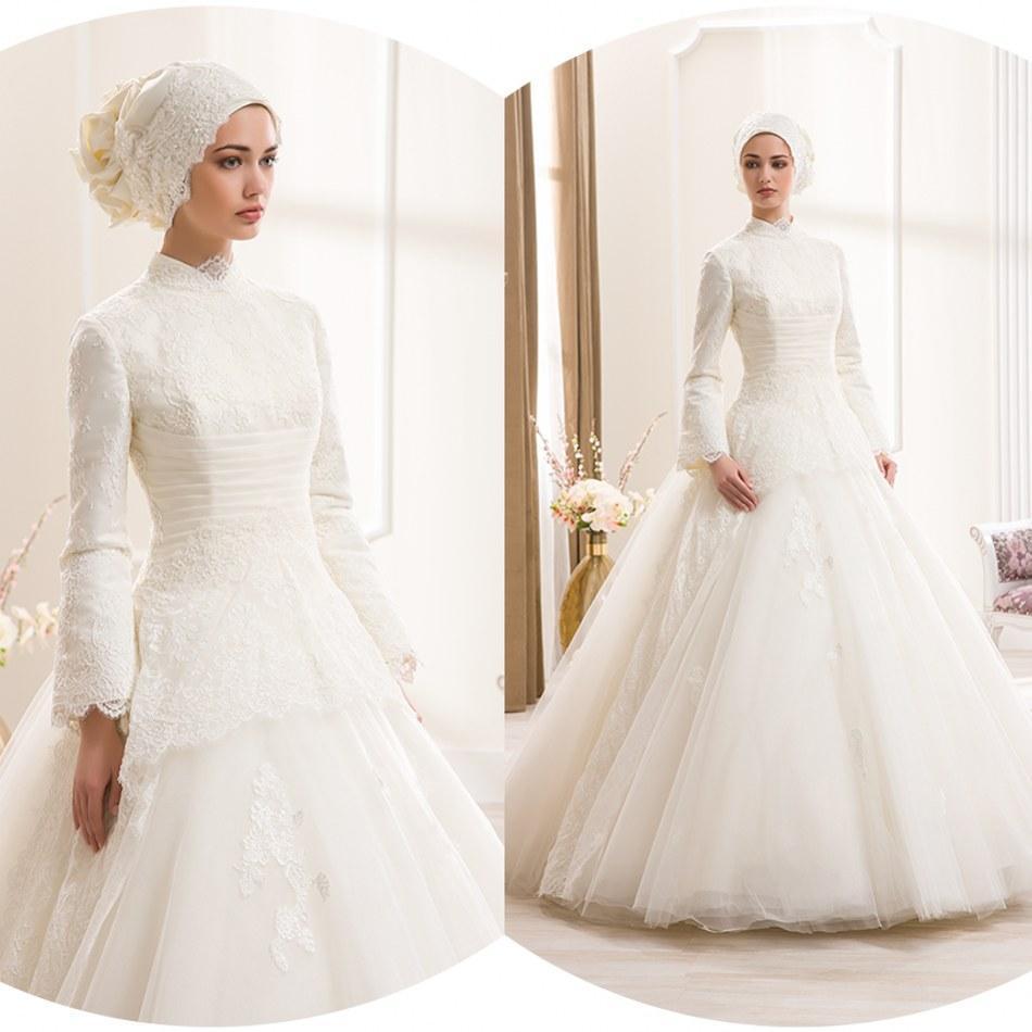 unique high neck lace sleeve mini tulle wedding dress