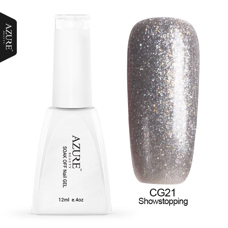 Azure 12ML Silver Color Gel Polish Glitter Nail Gel Polish Soak Off Long Lasting UV Led Gel Nail Varnish DIY UV Nail Enamel(China (Mainland))