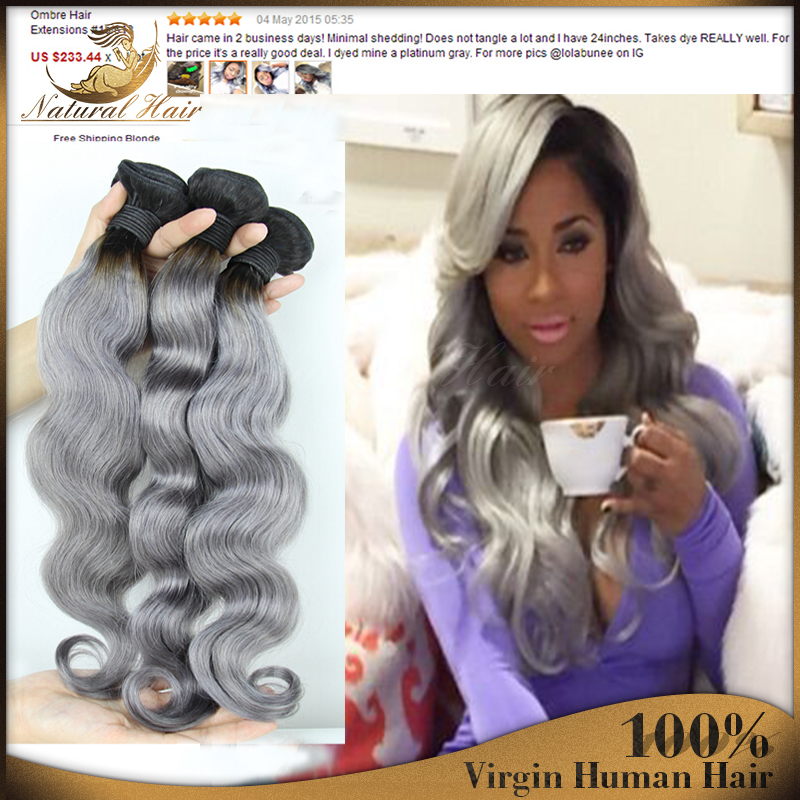 3Pcs T1B/Grey Boby Waves Ombre Grey Weaves Human Hair Extensions Two Tone Ombre Grey Weaves Ombre Silver Grey Hair Free Shipping<br><br>Aliexpress