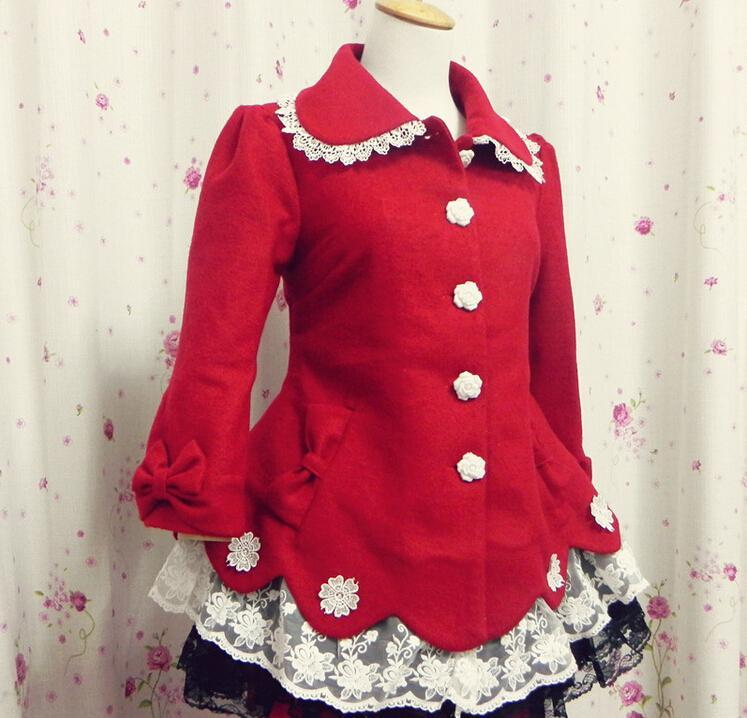 Girls lovely New Year celebration coat with bowknot red winter coat LOLITA flower lace coat for Xmas(China (Mainland))