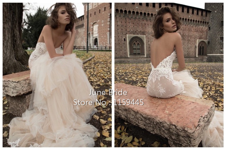 Light Champagne Mermaid Tulle Wedding Dress New Arrival Off the Shoulder Sweetheart Layered Skirt Backless Bridal Dresses Gowns(China (Mainland))