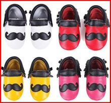 50 pairs/lot Genuine Leather Mustache soft shoes for boy