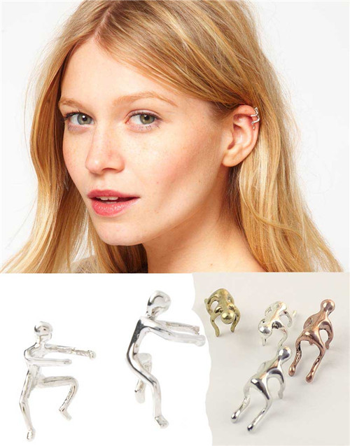 1PCS Silver/Gold/Copper Earrings Climbing Man Naked Climber Ear Cuff Helix Cartilage Earring(China (Mainland))
