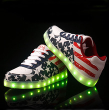 Led Shoes 2016 Fashion Luminous Shoes men women Basket LED platform woman USB charging light up LED Shoes for adults
