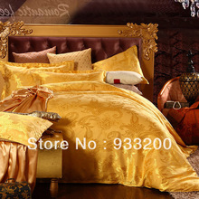 Free Shipping 100%tencel quality goods satin jacquard wedding celebration bedding four cotton sheet bedding Suitable bed size 2m(China (Mainland))