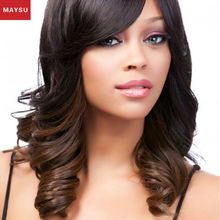 MAYSY Charming Long Wavy Synthetic Wigs For Black Women Side Parting Ombre Color Kanekalon Wig Free Shipping Big Promotion(China (Mainland))