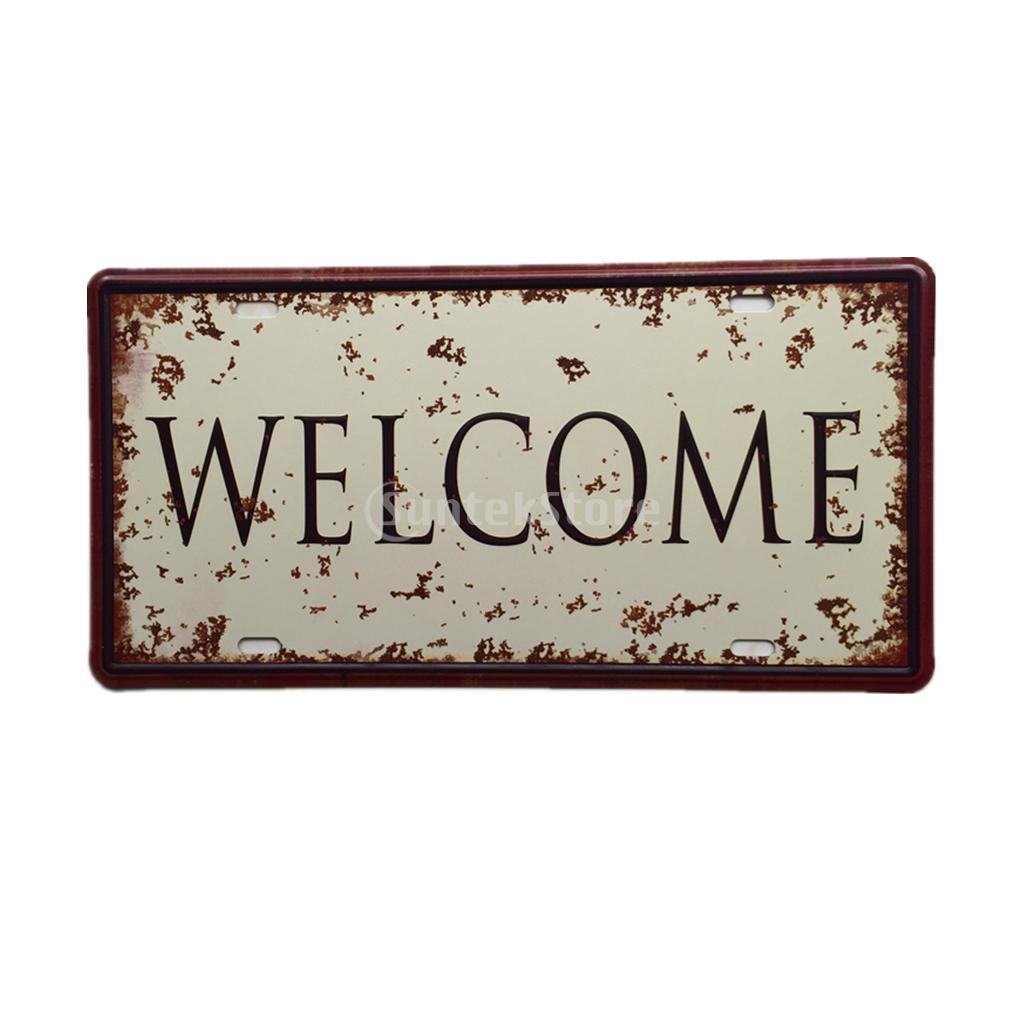 15cm x 30cm retro metal tin sign plaque vintage welcome for Plaque de metal adhesive