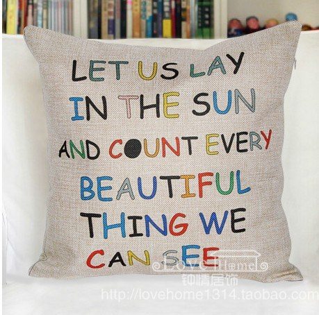 Fluid letter pillow beautiful thing pillow case pillow cover let us lay in the sun and