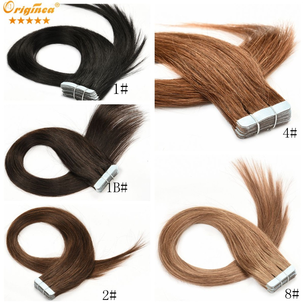 Tape in Human Hair Extensions 20Pcs Straight Brazilian Virgin Hair PU Skin Weft Taped Hair Extension Adhesive Hair Extensions(China (Mainland))