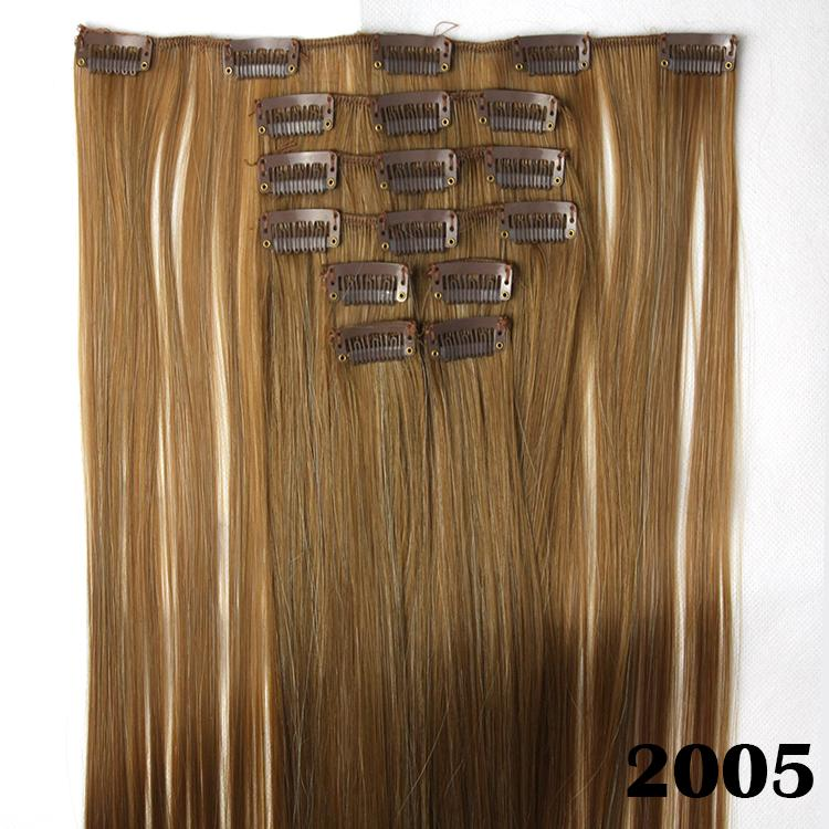 8pcs/set, blonde straight synthetic hair extensions, clip in hair extension, mega hair, color 2005<br><br>Aliexpress