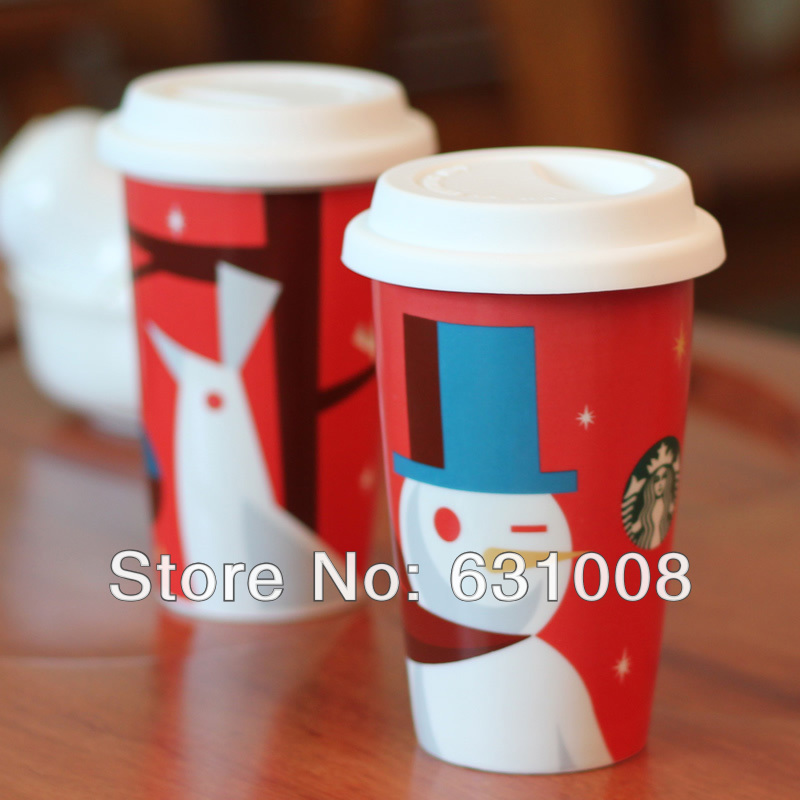Creative wind mug Double wall ceramic coffee cup with lid Creative style coffee mug Snowman Auspicious birds Best gifts(China (Mainland))