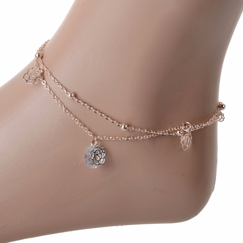 Pierced Flower Ankle Bracelet Beads Foot Chain Double Chain CZ Leg Bracelet Anklets For Women Chaine Cheville(China (Mainland))