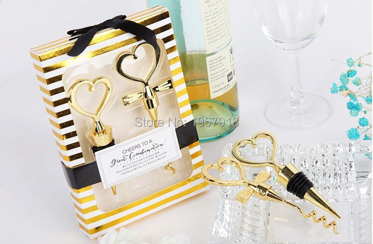 NEW Gold Color Bride and Groom Bottle Stopper and Opener Two Hearts Wine Favor Set Wedding Favor Wedding Souvenirs (8)
