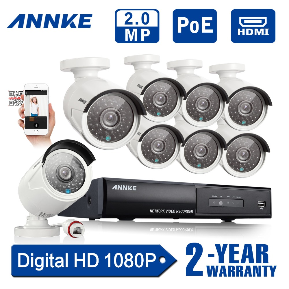 ANNKE HD 1080P 8CH PoE NVR CCTV Security Camera System 2.0MP 1080P IP Network CCTV Surveillance Kit 2TB HDD 2 years warranty(China (Mainland))