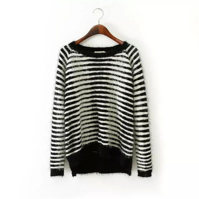 Женщины мохер полосатый с длинным рукавом пуловеры симпатичные О-Образным Вырезом ...