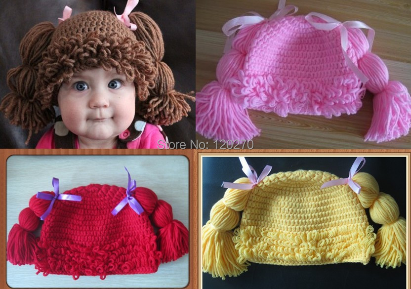 100% Handmade Crochet Baby Girls Wigs Cabbage Patch Hat Infant Toddler Newborn Children's Beanie Photographic prop - Honey Baby's store