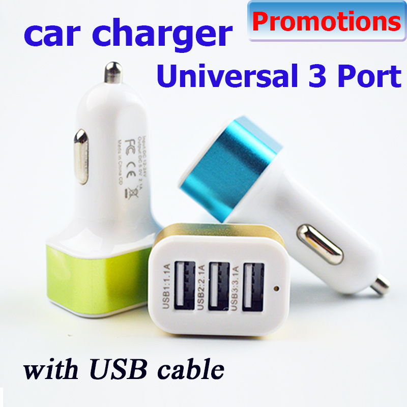 Cigarette Lighter Auto Car Styling Universal 12v 24v To 5v 3port Usb Charger Adapter for intelligent phone Gps Free Shipping(China (Mainland))