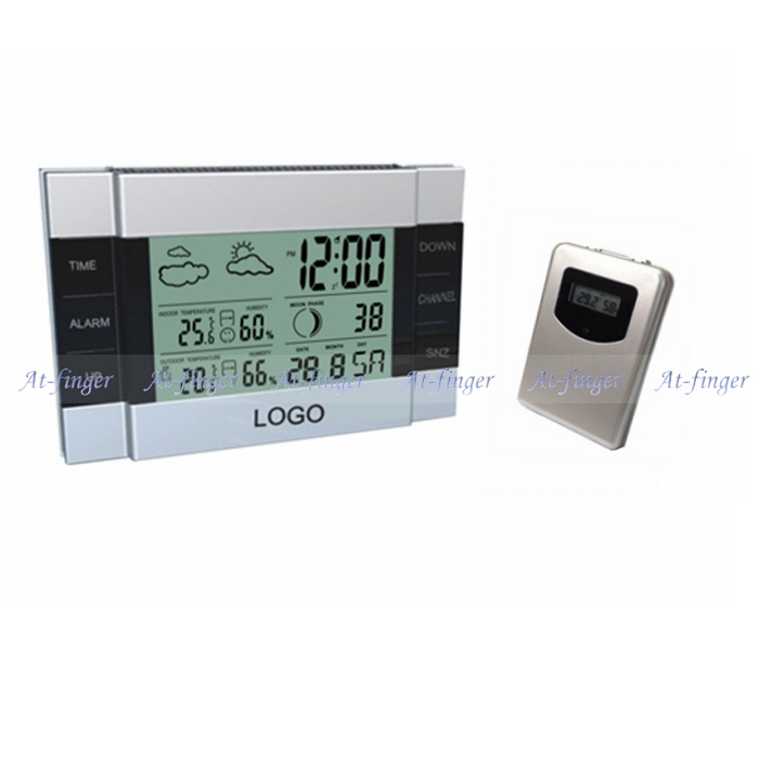 RF Wireless Weather Station Indoor Outside temperature meter humidity Alarm Clock remote sensor - At finger technology Co.,Ltd store