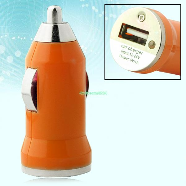 EE4250 UNIVERSAL USB MINI CAR CHARGER Adapter For Mobile Phone MP3 MP4 MP5 ORANGE(China (Mainland))