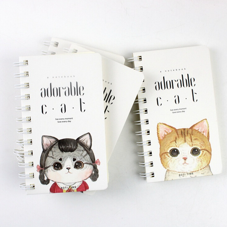 15.5*9cm Adorable Cats Hard Cover Coil Book Portable Pocket Notebook Diary Notepad Escolar Papelaria(China (Mainland))