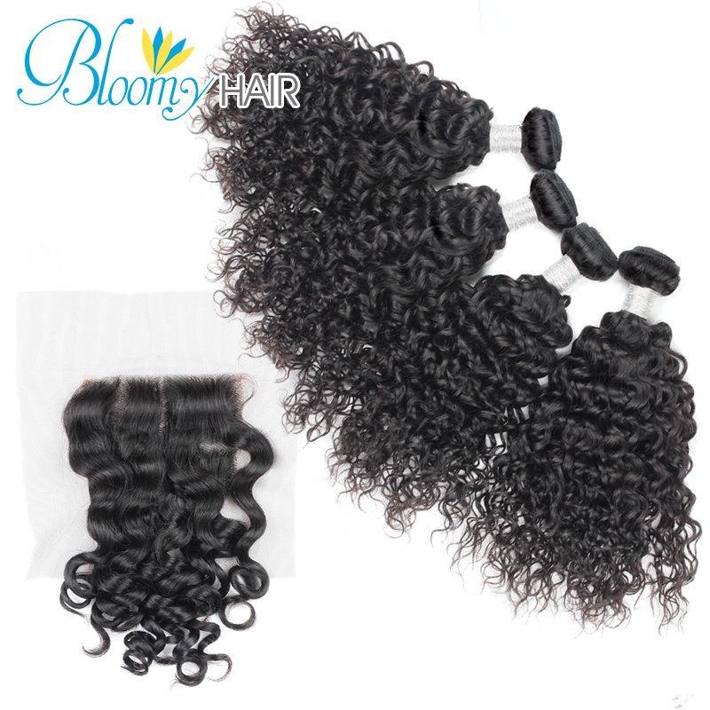 Bloomy hair 8A Grade Brazilian Roman Curl 4 Bundles With Closure 5 Pcs/Lot Brazilian Virgin Hair Soft No Tangle No Shedding