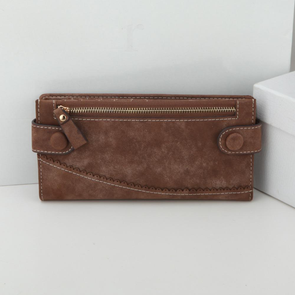 HOT Vintage Womens Wallet Nubuck Leather Ladies Brand Wallets Snap Clasp Female Purse Woman Clutch Women's - eShop Online Store store