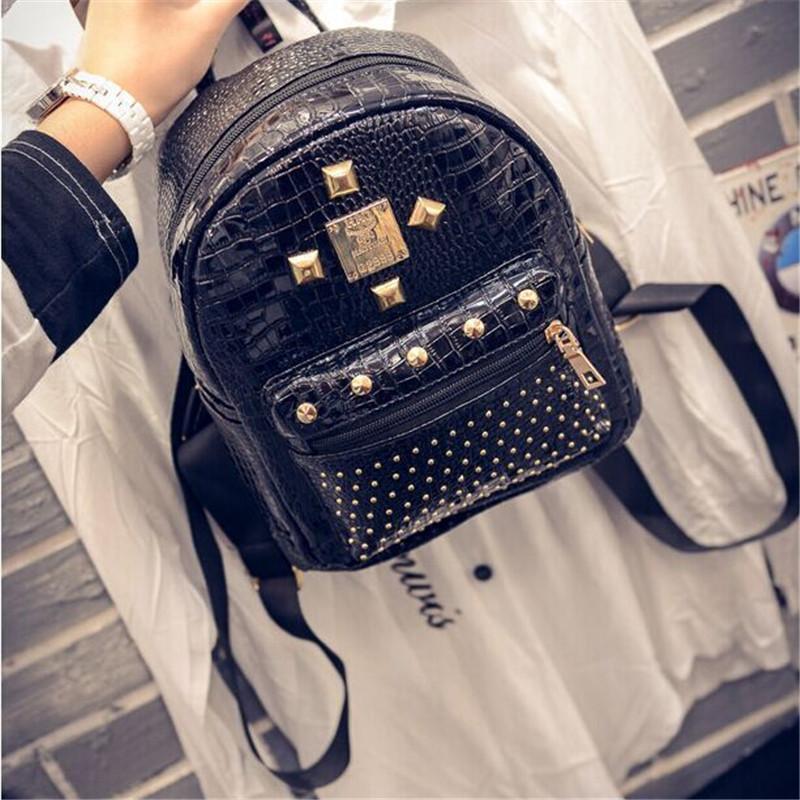 Фотография 2016 new crocodile grain PU leather shoulder bag rivet fashion wild wave of female bag backpack female