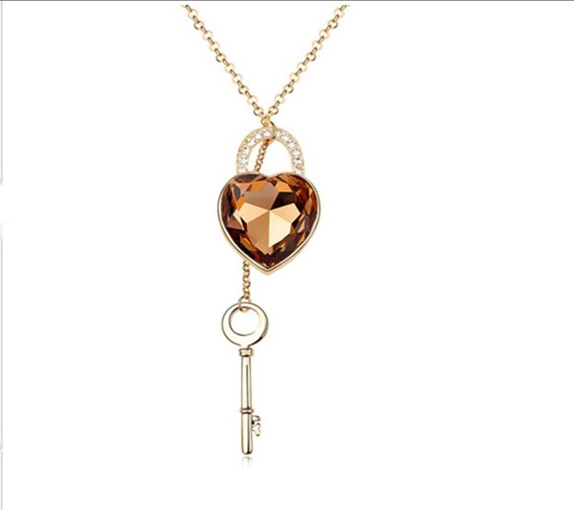 Skirt accessories personalized necklace female crystal long necklace lock clothes and accessories exaggerated necklace