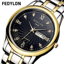 Top Brand Luxury Lovers' Couple Watches Men Date Day Waterproof Watch Women Gold Stainless Steel Quartz Wristwatch Montre Homme
