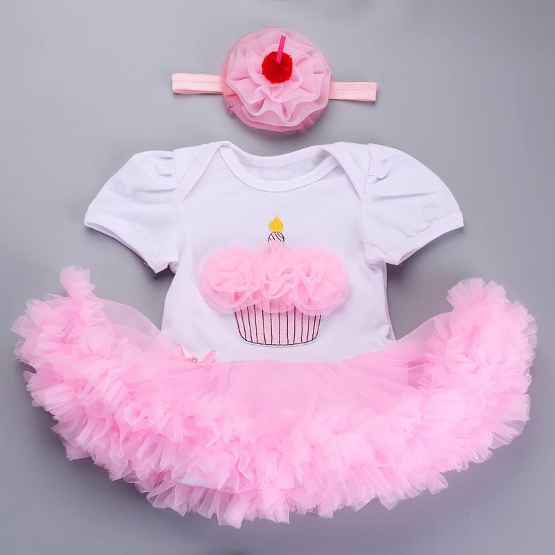 Girl Baby Dress Birthday for Newborns Headband Set New