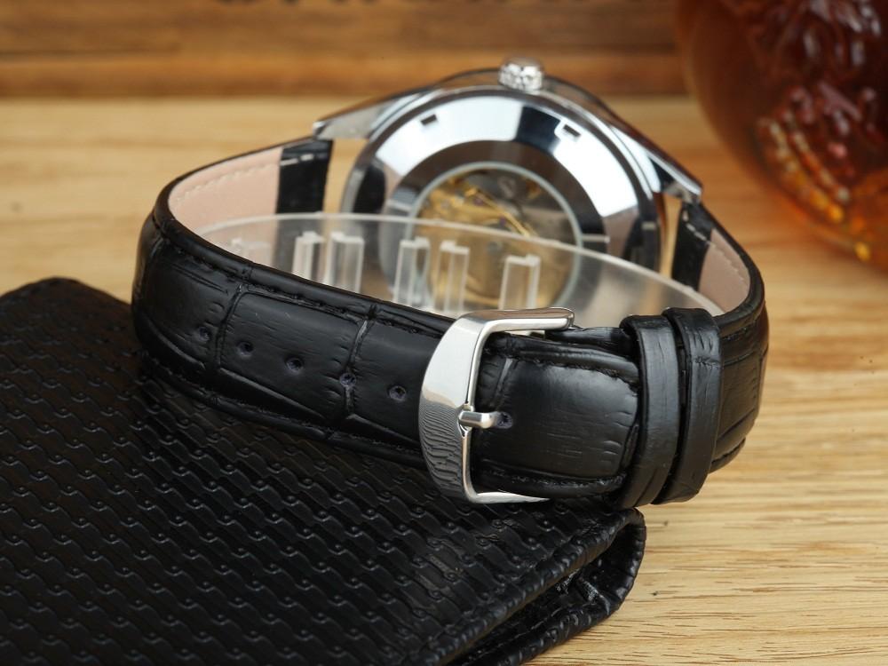 GOER марка мужские механические часы Автоматические Световой цифровой водонепроницаемый мужчины Наручные часы Скелет кожа