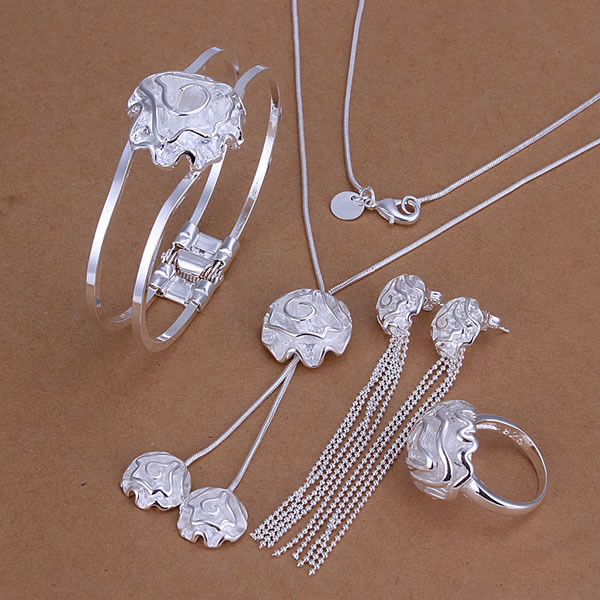 S324 , 925 silver jewelry set, fashion set Rose Ring Drop Earrings Bangle Necklace Jewelry Set  -  fengqin gong's store store