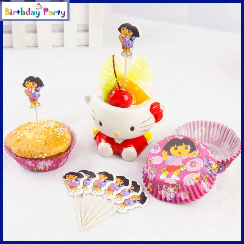 48Pcs Dora paper cupcake cases and Toothpick toppers for kids birthday party decoration Event Party Supplies(China (Mainland))