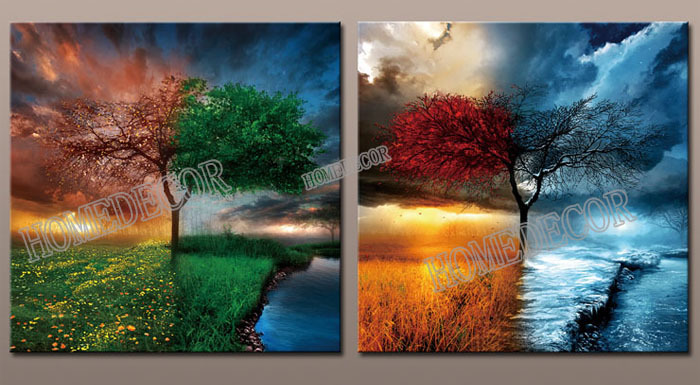 2pcs/set Season Spring/Summer/Autumn/Winter Abstract wall canvas printing picture prints artwork Painting living room decor(China (Mainland))