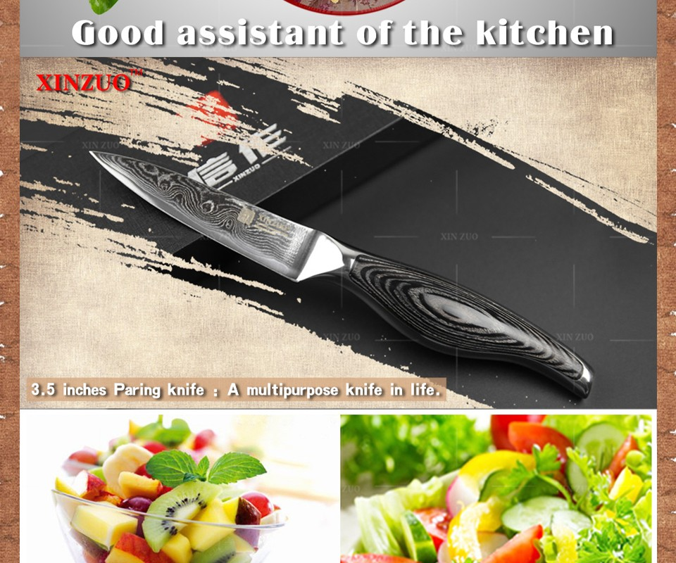 """Buy 3.5"""" inches paring knife kitchen knife VG-10 Damascus steel kitchen knives  fruit knife with wood steel handle FOR FREE SHIPPING cheap"""