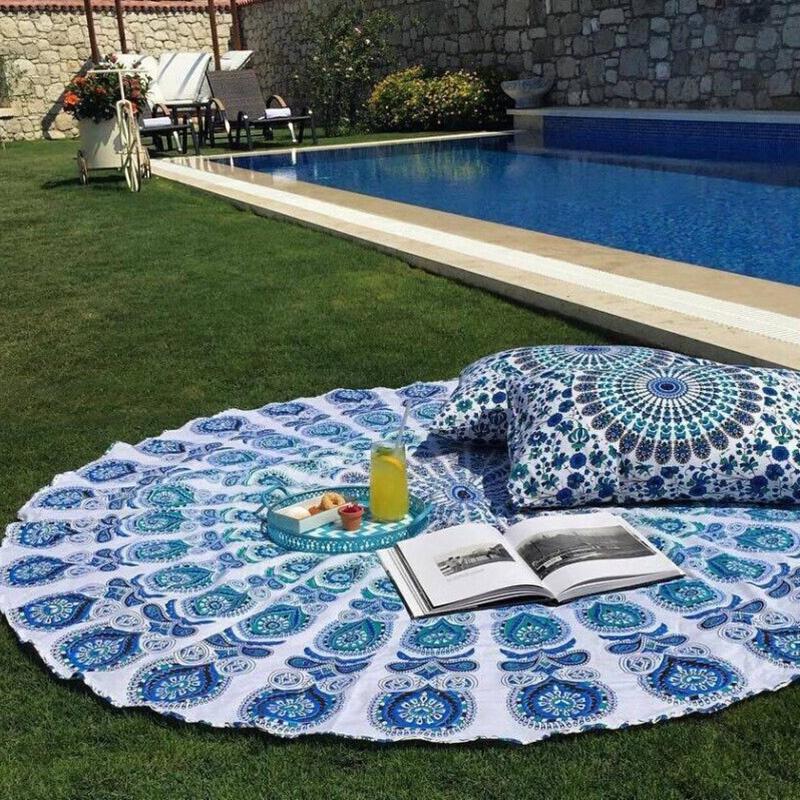 2016 New Indian Round Mandala Tapestry Wall Hanging Tapestries Boho Printed Beach Throw Towel Yoga Mat Home Decor 143cm
