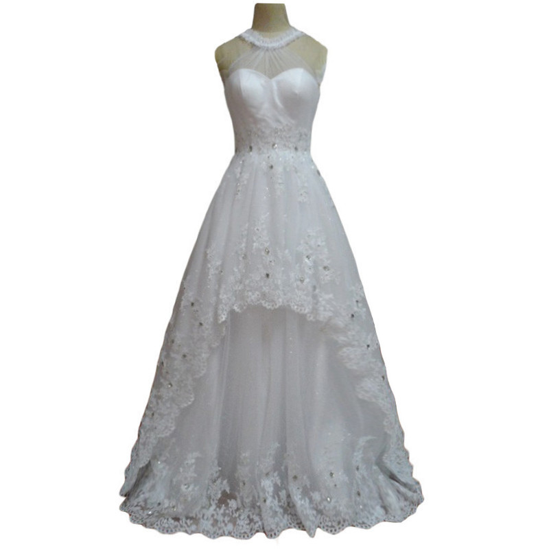 Buy a line lace flower round neck wedding for A line lace open back wedding dress