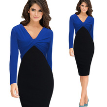 2016 vestido de festa Bodycon V-neck Pencil Tights Office Dress Plus Size Pencil Women Dress Female Elegant