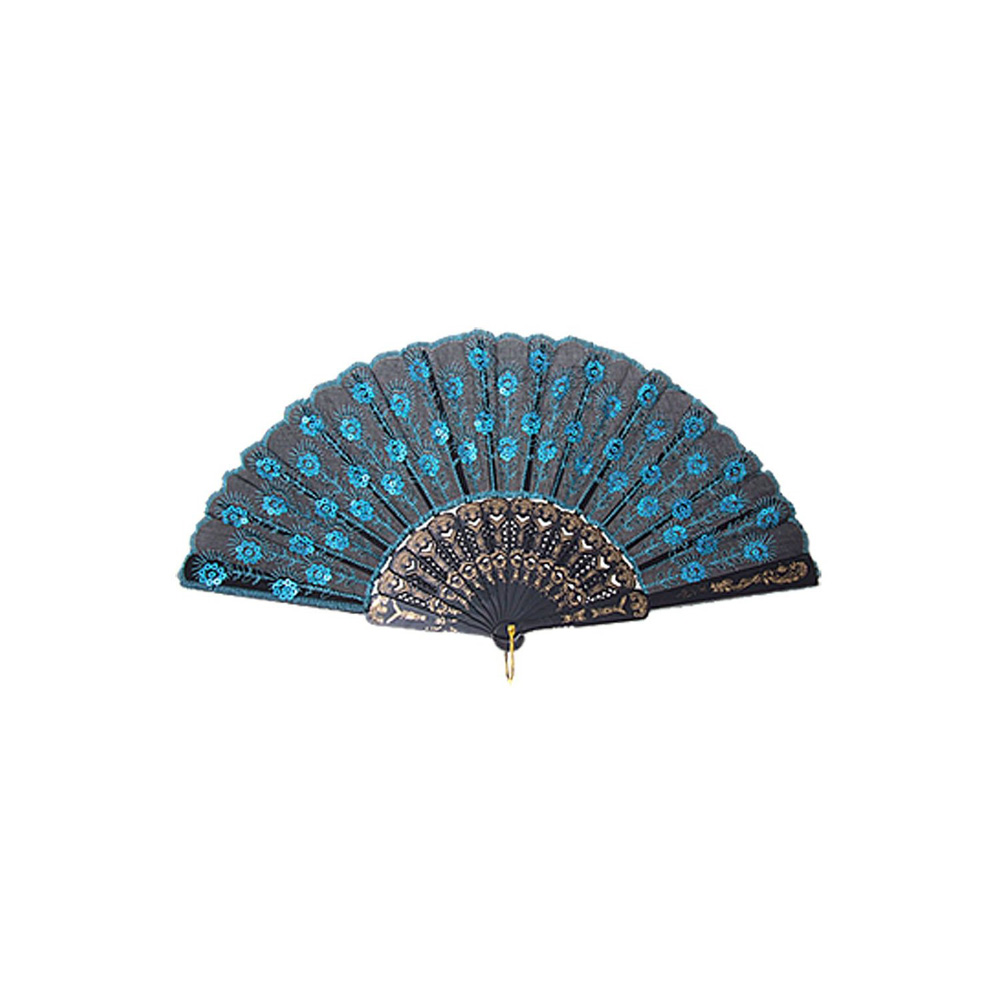 Blue Chinese Japanese Folding Peacock Hand Fan Bead Fabric US Seller Decor New(China (Mainland))