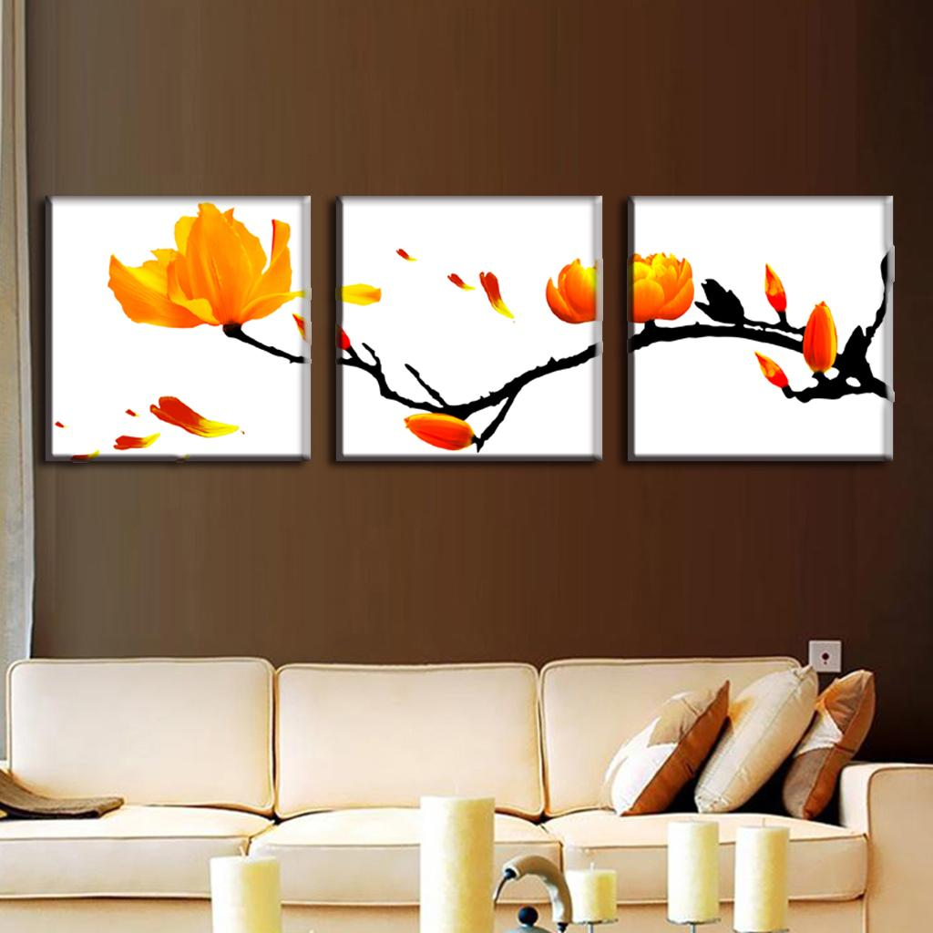 3 pcs set modern wall paintings framed flower oil painting for Paintings for house decoration