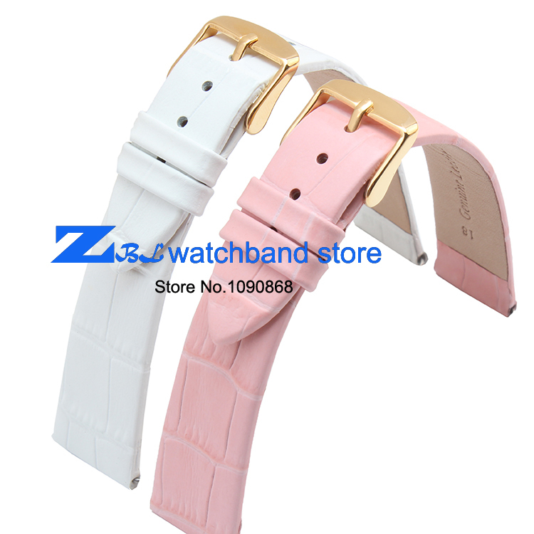 ultra-thin Genuine leather watchband watch belt strap wristwatches band 10mm 12mm 14mm 16mm 18mm  20mm female pink white
