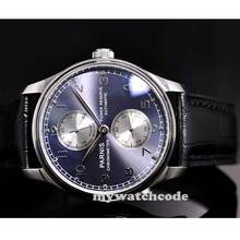 43mm parnis blue dial Luxury power reserve automatic movement mens watch P193(China (Mainland))