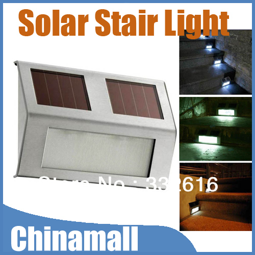 Solar Powered Outdoor Garden Wall Light LED Home Stair Path way Deck Landscape yard Lamp Stainless Free Shipping Drop Shipment