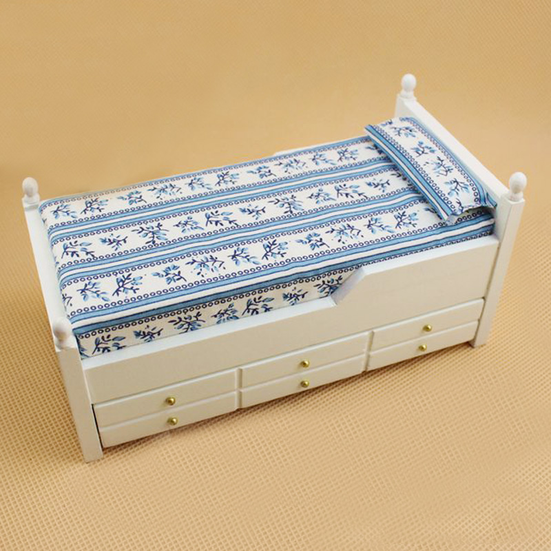 Wooden 1/12 Scale Dollhouse Miniature Bed Mini Doll House Bedroom Furniture Miniatures Accessories Toy Gift(China (Mainland))